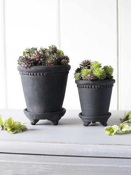 Black Beaded Cement Pot
