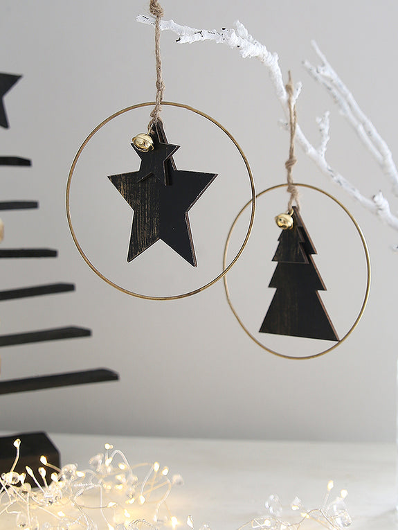 Black Star And Tree Hoop Decoration