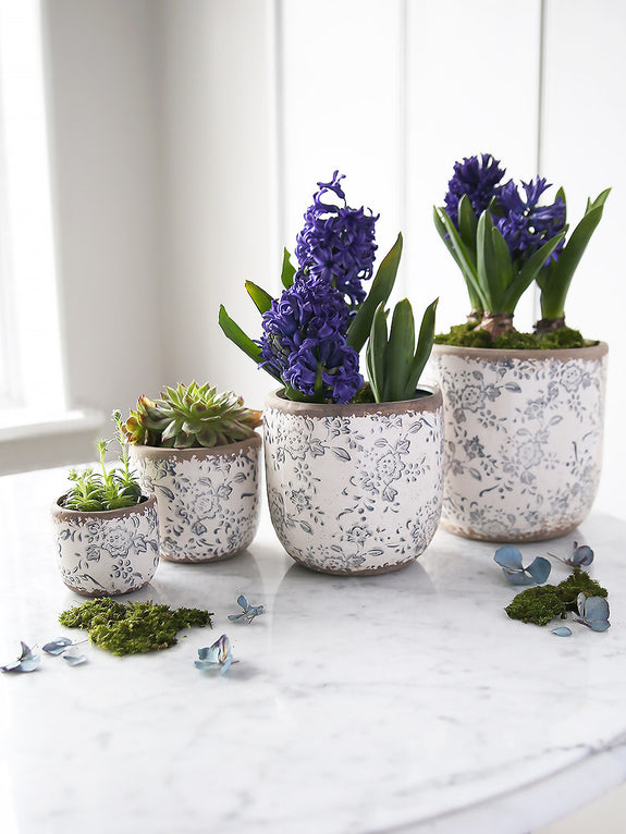 Blue And White Round Floral Pot