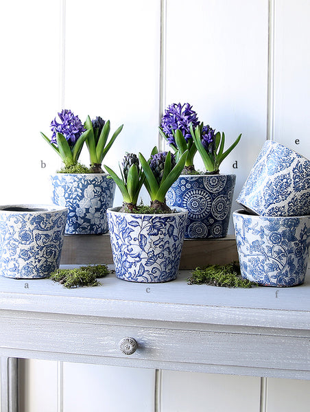 Dutch Blue Patterned Pots