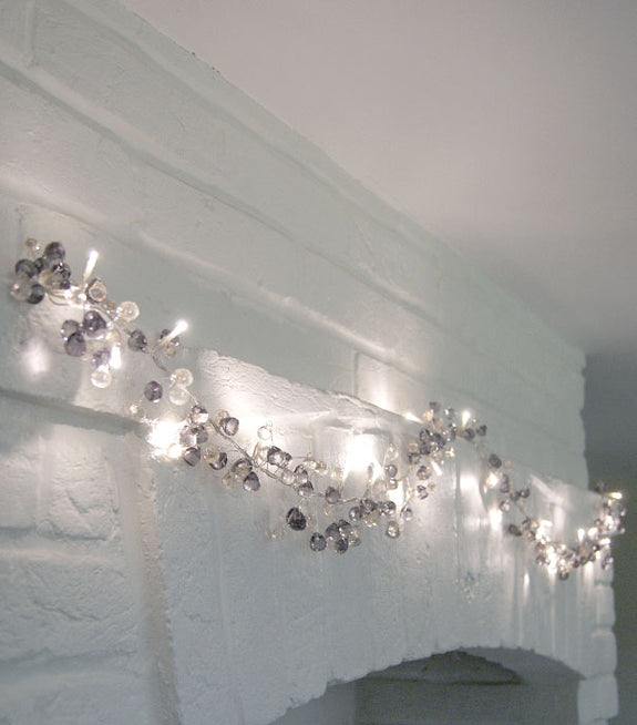 Graphite And Amber Crystal Mains Light Garland