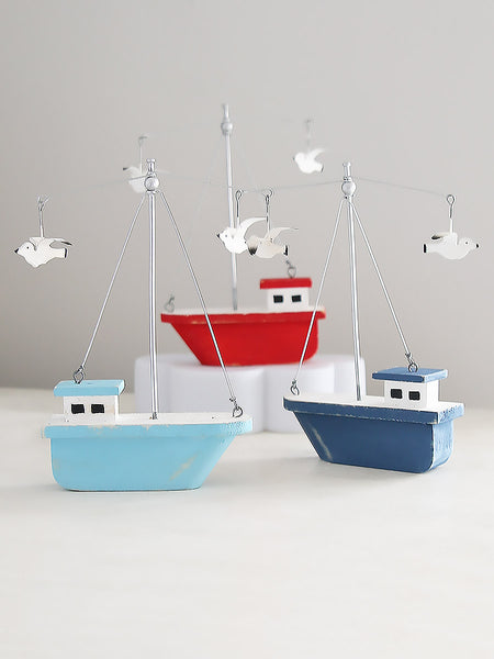 Colourful Boats with Circling Seagulls