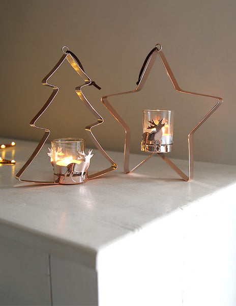 Copper Christmas Hanging Tealight Holder