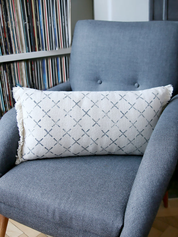 Grey Cross Print Cushion