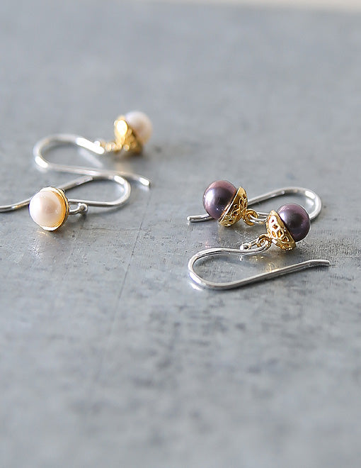 Dark Pearl Gold Acorn Earrings