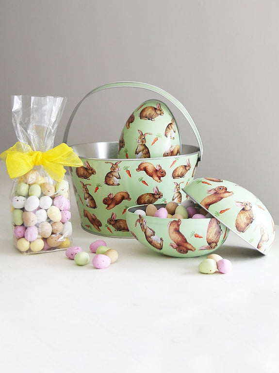 Easter Rabbit Hunt Bucket And Chocolate Filled Egg