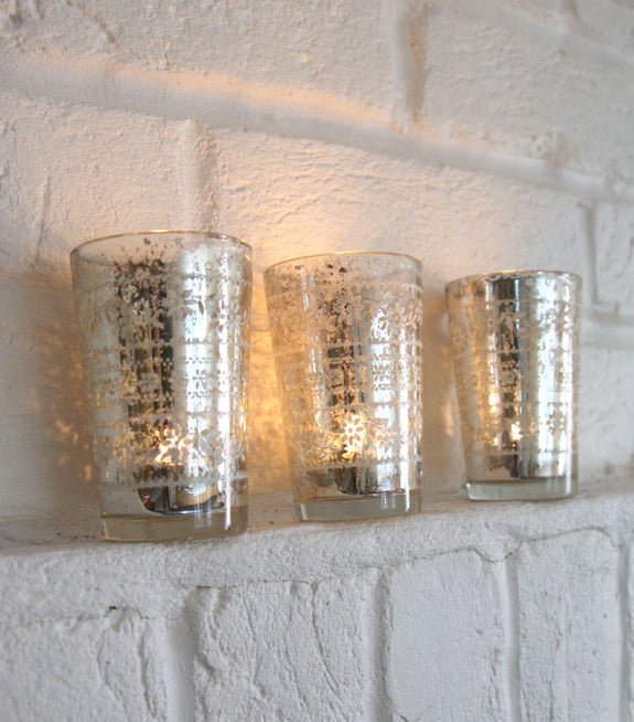 Etched Glass Tealight Holder