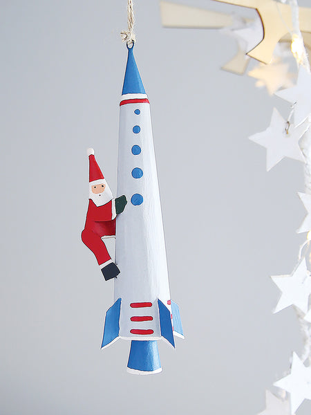 Father Christmas Space Rocket Decoration