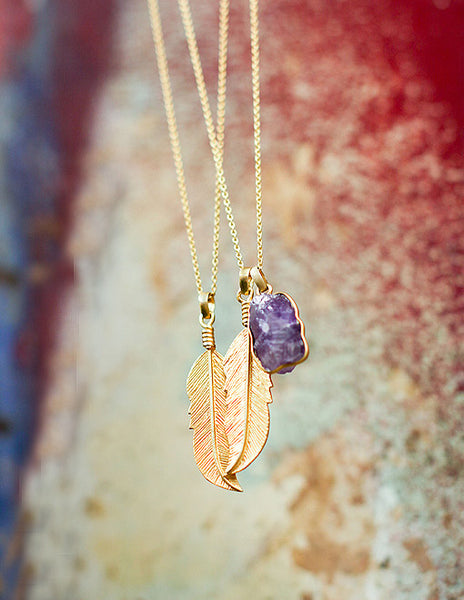 Gold Feather Necklaces