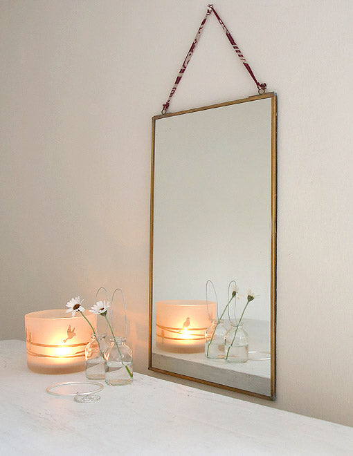 Framed Brass Mirror