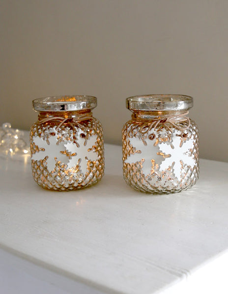 Glass Votive with Snowflakes