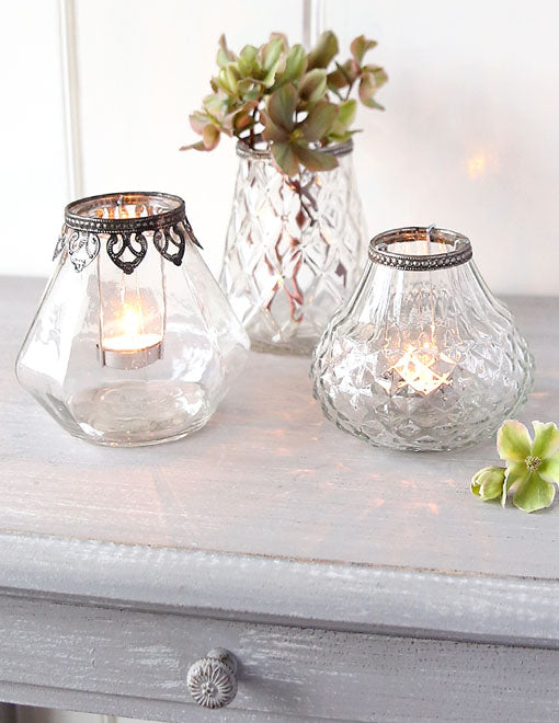 Patterned Glass Tealight Holder Or Vase
