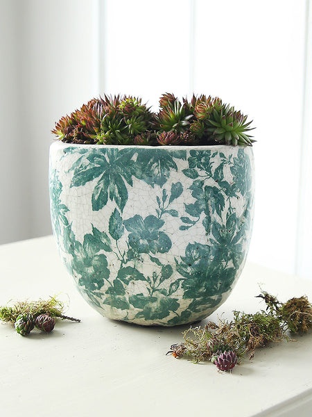 Green Botanical Oval Pot