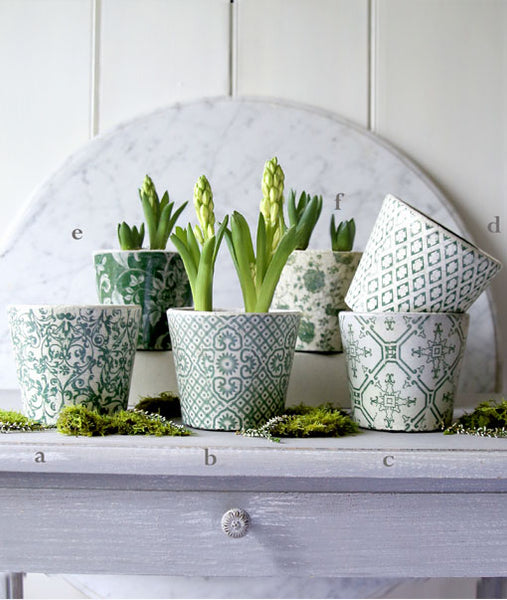 Green Patterned Plant Pot Assortment