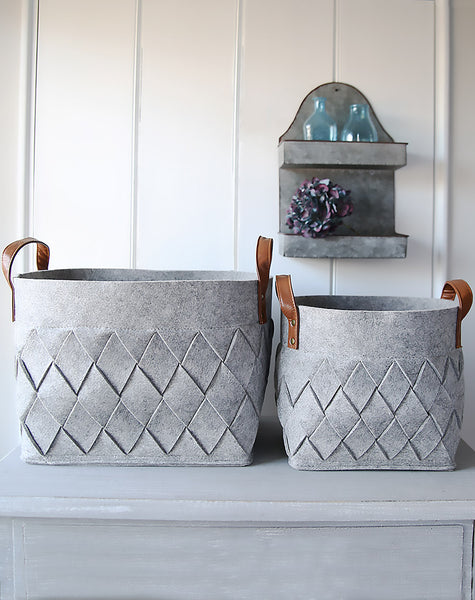 Grey Felt Harlequin Storage Bag