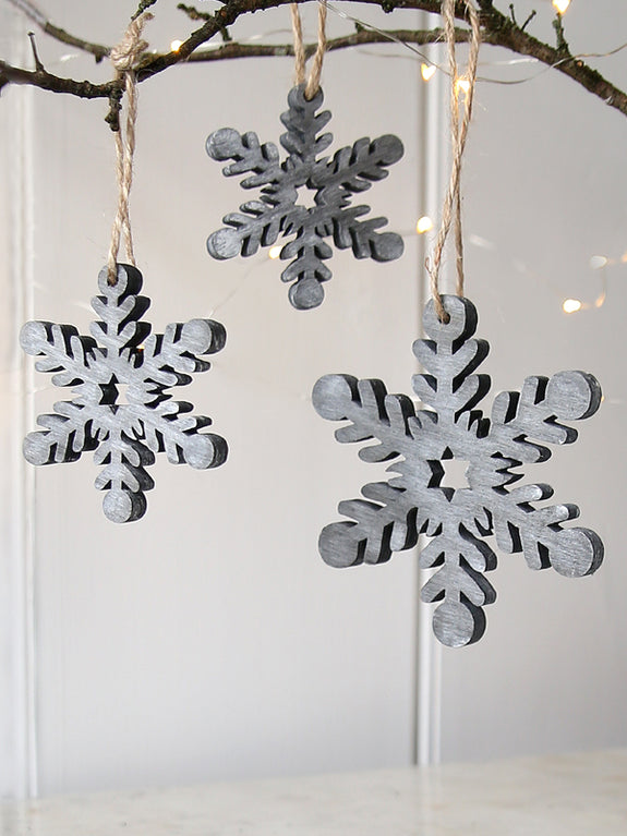 Grey Snowflake Hanging Decoration