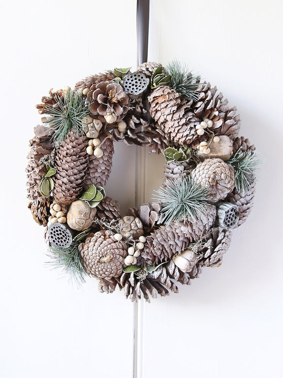 Grey Spruce And Pine Cone Wreath