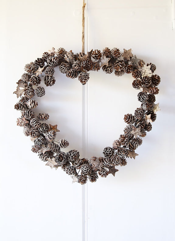 Frosted Pinecones And Stars Heart Wreath