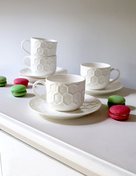 Set Of Four Honeycomb Cup And Saucers