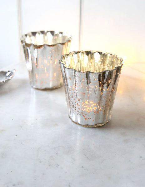 Large Silvered Tealight Holder