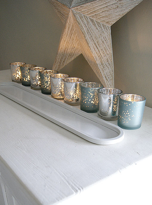 Long Frosted Votive Tray