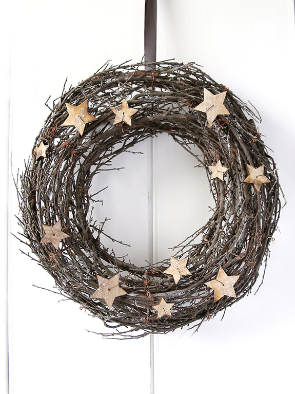 Frosted Natural Wreath With Stars