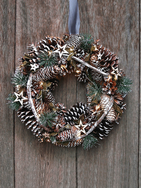 Pine Cones and Green Spruce Illuminated Wreath