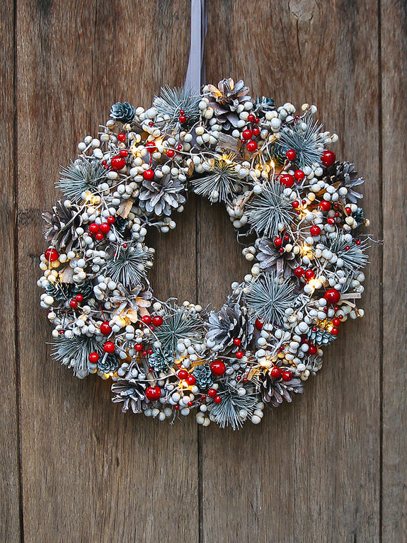 Red Berry And Grey Spruce Illuminated Wreath