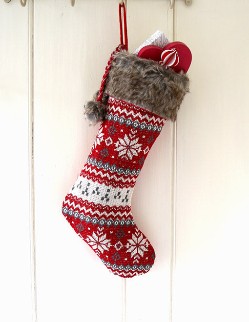 Red Scandi Christmas Stocking