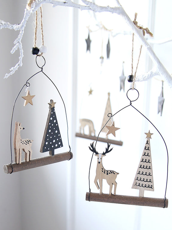 Reindeer And Tree Hanging Decoration