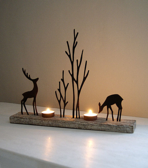 Reindeer Duo Tealight Holder