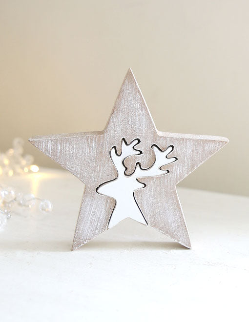 Wooden Reindeer Christmas Star