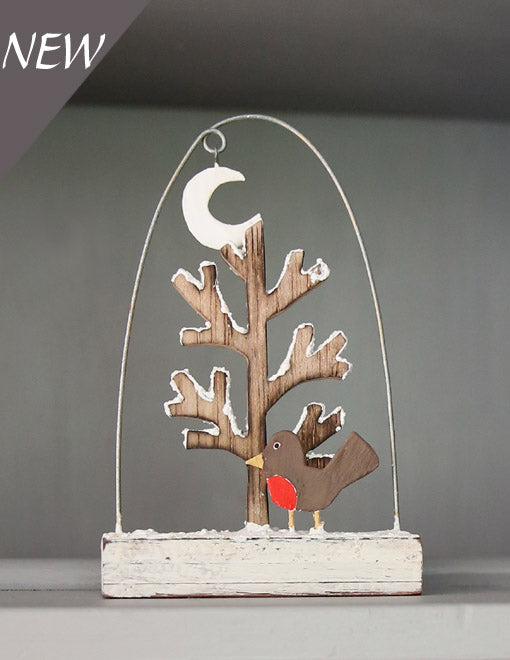 Robin and Snowy Tree Decoration