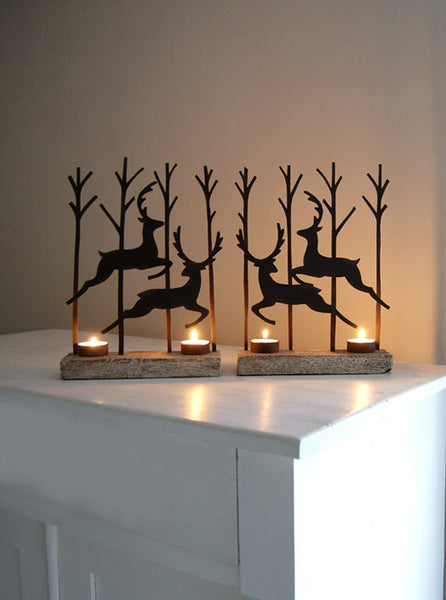 Rust Leaping Reindeer Tealight Pair