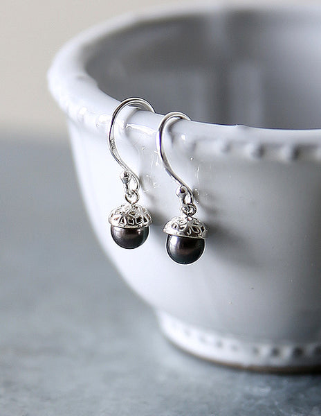 Dark Pearl Silver Acorn Earrings