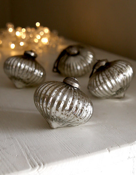 Silver Onion Bauble Pair