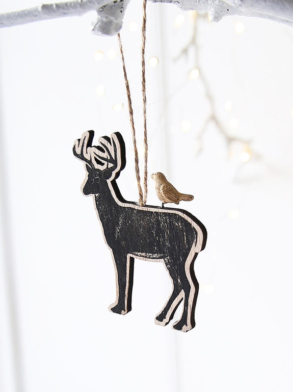 Stag And Golden Robin Hanging Decoration