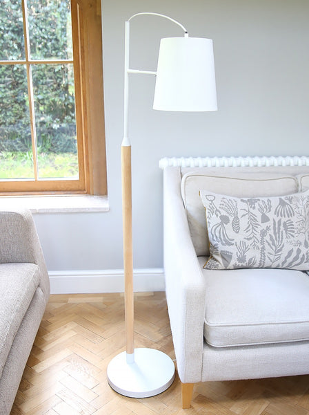 White And Blonde Wood Floor Lamp
