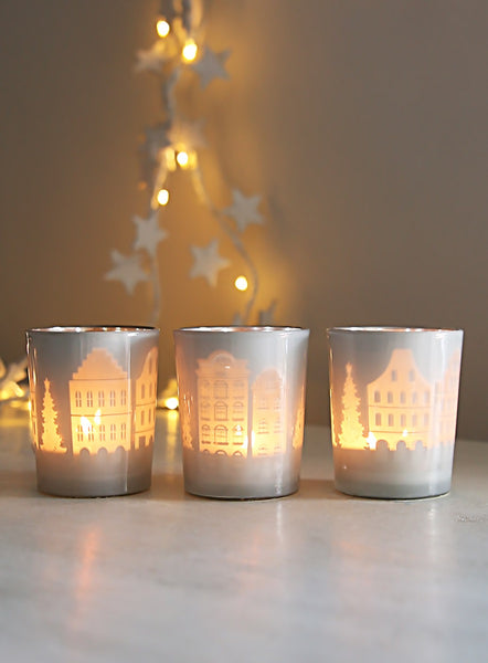 White Townscape Tealight Set