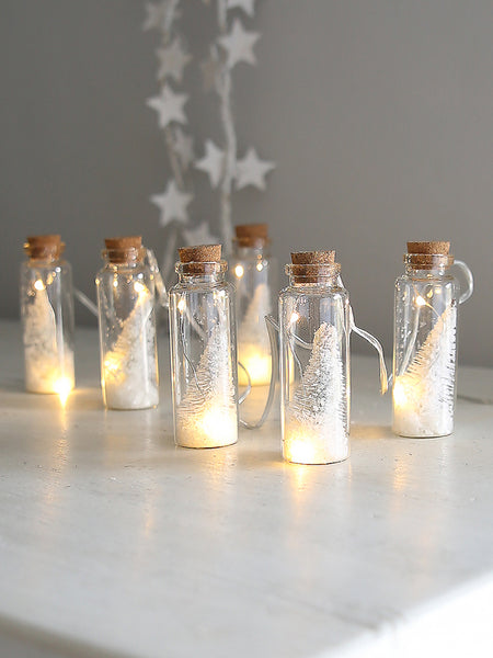 White Christmas Tree Mini Bottle Light Garland