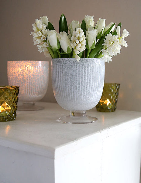 White Frosted Vase Or Candleholder