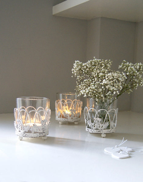 White Latticework Tea Light Holder