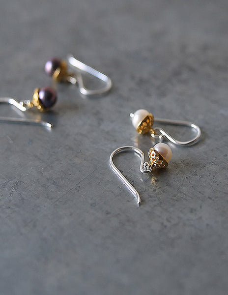 White Pearl Gold Acorn Earrings