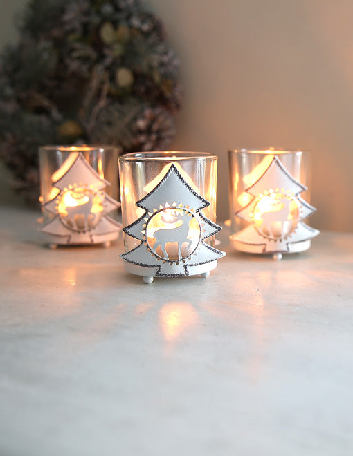 White Reindeer Tealight Holder
