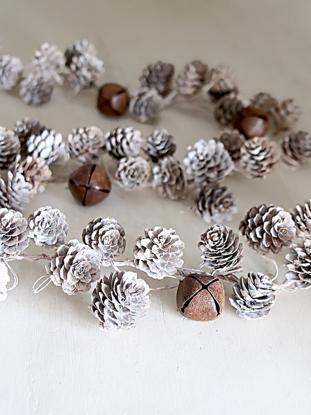 Whitewashed Pinecones And Bells Garland