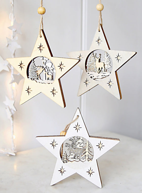 Wooden Hanging Stars With Reindeer Scenes
