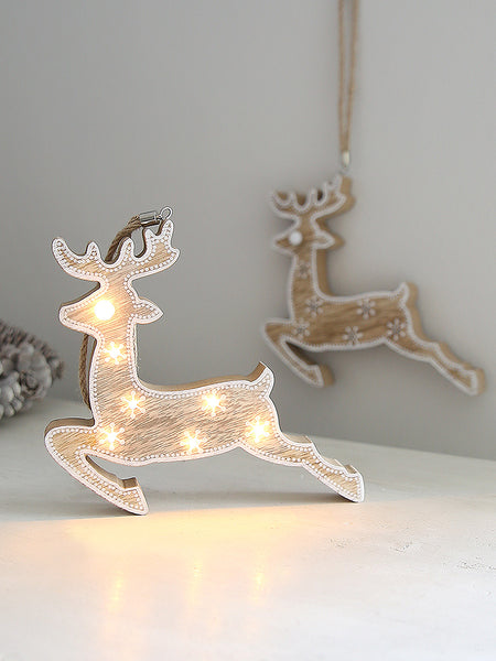 Wooden Reindeer Light Hanging Decoration