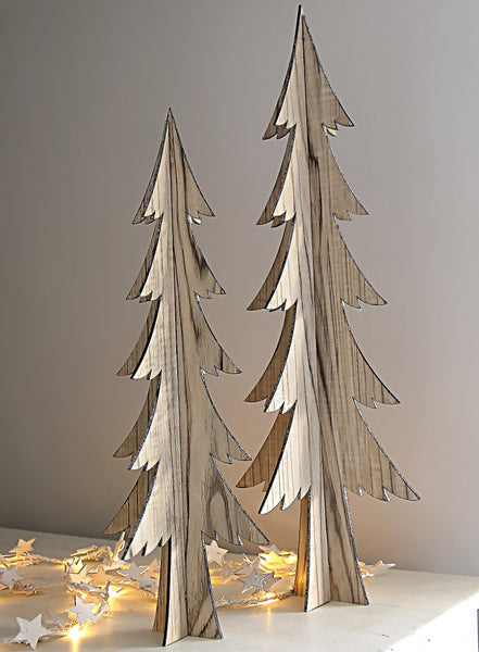 Wooden Decorative Tree With Silvered Edge