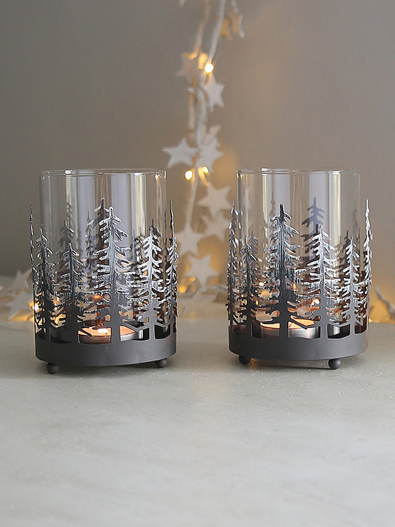 Woodland Silhouette Tealight Holder