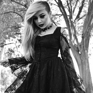 Gothic dress of ghost cocktail lace with button row DW053BK - Gothlolibeauty